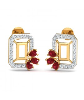 The Emerald shape Ruby Ear ring